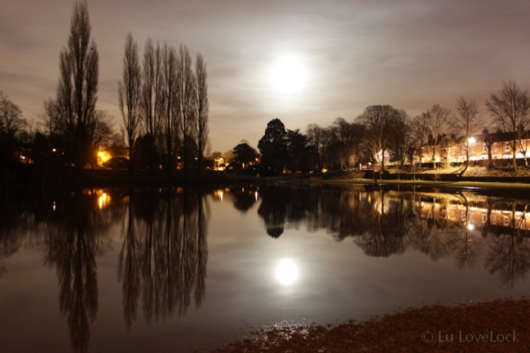 Moon light reflected in the flood waters